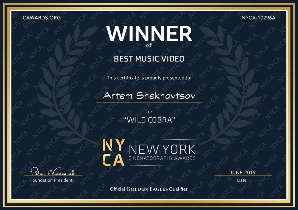 Победа на фестивале New York Cinematography AWARDS в номинации лучшее музыкальное видео